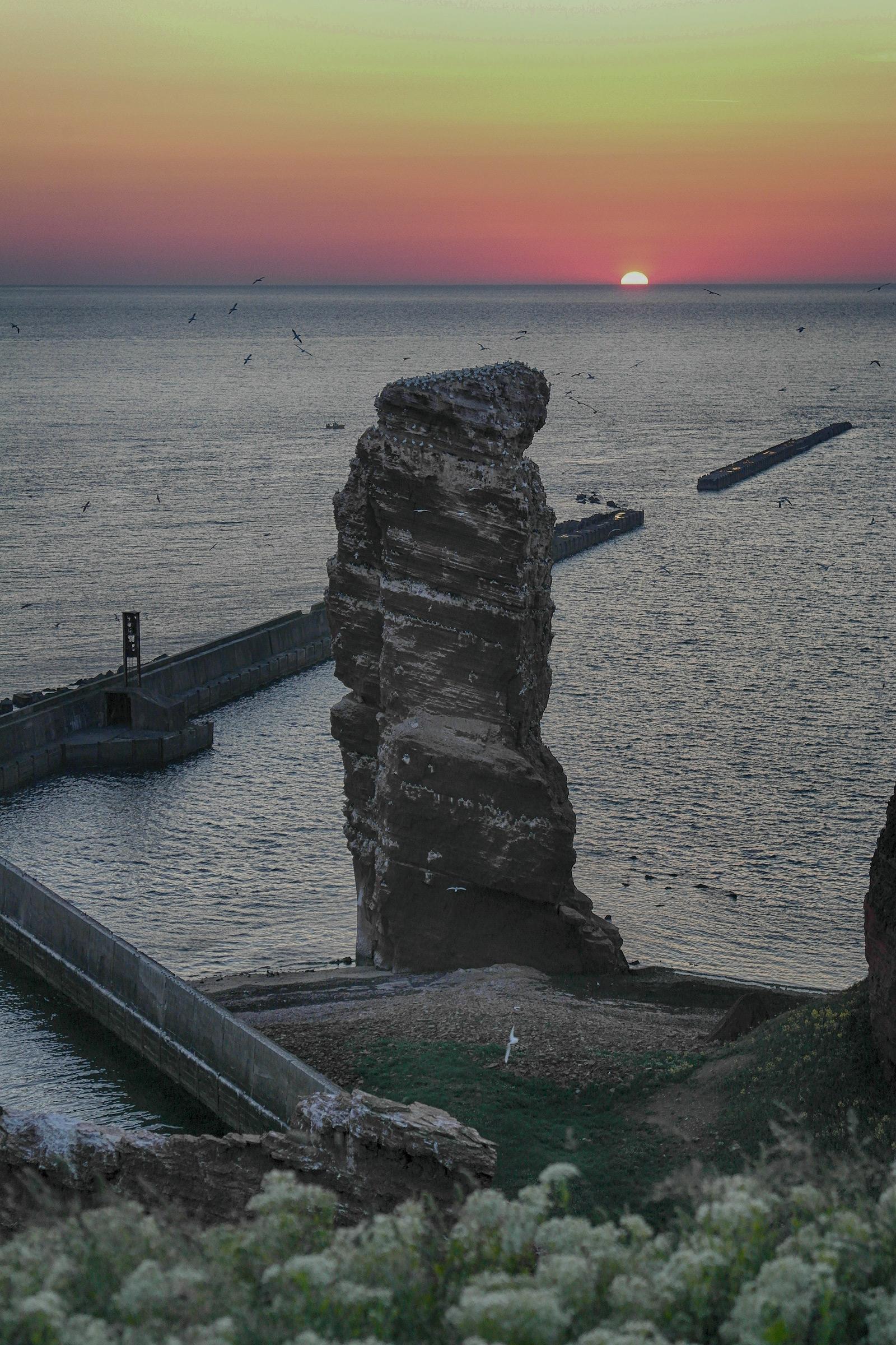 """Lange Anna"" bei Sonnenuntergang"